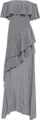 Halston Off-the-shoulder Striped Gauze Dress