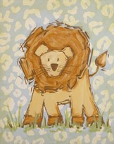 The Well Appointed House Renditions by Reesa Hand Painted Safari Lion Canvas-Available in Two Different Colors