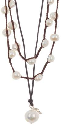 ADORNIA Layered 5-13mm Freshwater Pearl & Leather Necklace Silver