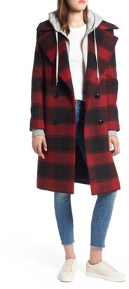 KENDALL + KYLIE Double Breasted Plaid Wool Coat