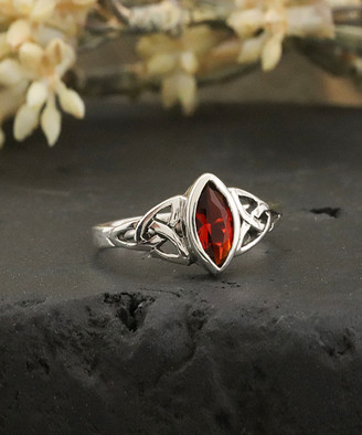 Celtic Kg Silver KG Silver Women's Rings silver - Ruby & Sterling Silver Knot Ring