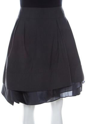 Celine Grey Wool Pleated Short Skirt L