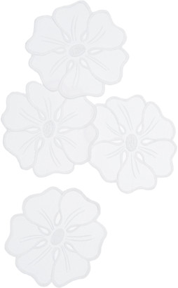 ATELIER HOURIA TAZI Fleur Set-Of-Four Embroidered Linen Coasters