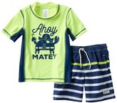 "Carter's Baby Boy Ahoy Matey"" Pirate Crab Rashguard & Swim Trunks Set"