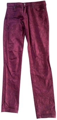 Bel Air Burgundy Cotton Jeans for Women