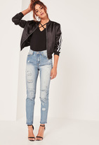 Missguided High Rise Ripped Jeans Blue