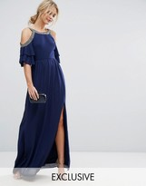 TFNC WEDDING Cold Shoulder Maxi Dress with Fluted Sleeve