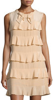 See by Chloe Tiered Ruffle Silk Dress, Peach