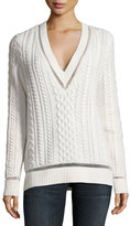 Gabriela Hearst Willard Cable-Knit Sweater, Ivory