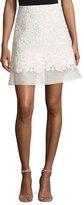 Giambattista Valli Lace A-Line Skirt w/Organza Hem, Pink/White