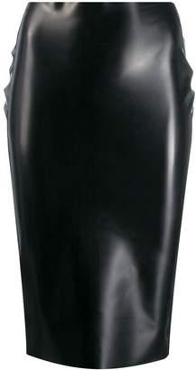 No.21 rubberised high-waist skirt