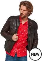Joe Browns Oxblood Biker Leather Jacket