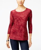 JM Collection Tie-Dyed Embellished Jacquard Top, Only at Macy's