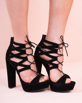 Missy Empire Yue Black Open Toe Lace Up Suede Heels