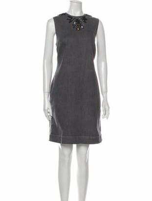Lanvin Crew Neck Knee-Length Dress Grey