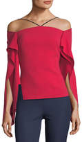 Roland Mouret Frickley Halter Split-Sleeve Crepe Top