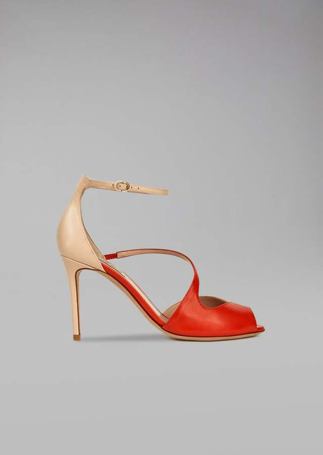 Giorgio Armani Leather Sandals With Heel And Strap