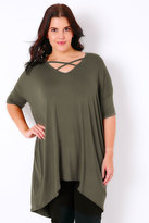 Yours Clothing Khaki Top With Cross Over Front & Extreme Dipped Hem