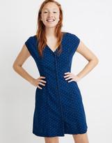 Madewell Indigo Cap-Sleeve Button-Front Dress in Rainbow Heart