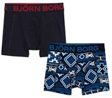 Bjorn Borg Pack of 2 Blue Aztec and Navy Branded Trunks