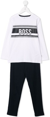 Boss Kids Logo Print Pajama Set