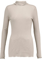 Enza Costa Ribbed Cotton-Jersey Turtleneck Top