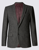 M&S Collection Slim Fit Textured 2 Button Jacket