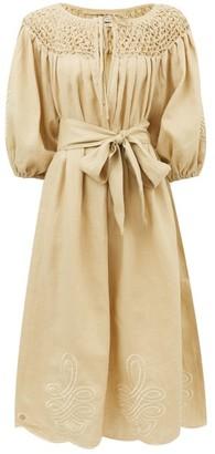 Innika Choo Hugh Jesmok Embroidered Linen Dress - Beige