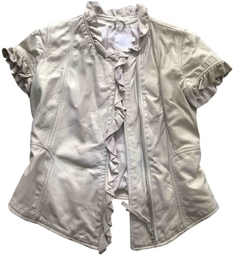 Imperial Star Gold Leather Leather Jacket for Women