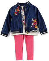 Flapdoodles Little Girls 2T-6X Embroidered Denim Jacket, Graphic Tee & Leggings Set
