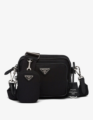 Prada Ladies Black Leather and Re-Nylon Cross-Body Bag