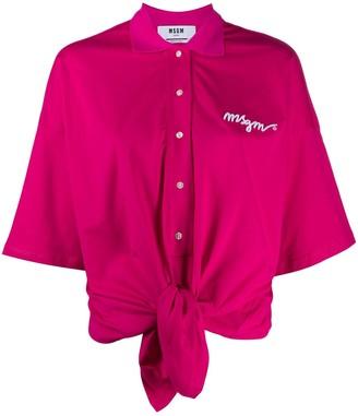 MSGM Tie-Waist Logo Polo Shirt