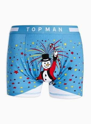 Topman Mens Blue Holiday Greatest Snowman Trunks*