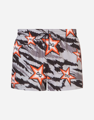 Dolce & Gabbana Short Swim Trunks With Tiger Print