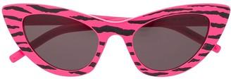 Saint Laurent Eyewear Zebra Print Cat Eye Sunglasses