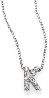 Roberto Coin Tiny Treasures 0.08 TCW Diamond & 18K White Gold Initial Necklace