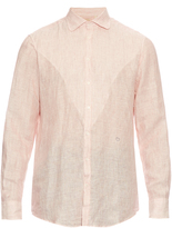 Massimo Alba Striped linen-chambray shirt