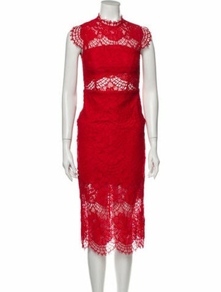 Alexis Lace Pattern Midi Length Dress Red