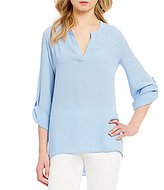 Preston & York Michelle Split V-Neck Roll-Tab Sleeve Blouse