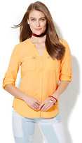 New York & Co. Soho Soft Shirt - Split-Neck - Cornsilk Yellow