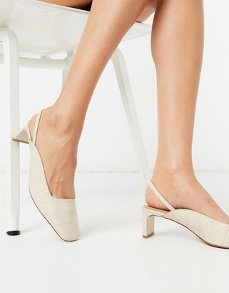 And other stories & leather croc-effect mid-heel pumps in beige