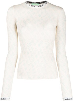 Aries Monogram Long-Sleeved Tulle Top