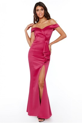 Goddiva Bardot Maxi Dress with Bow Detail - Cerise
