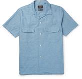 Beams Camp-Collar Cotton and Hemp-Blend Chambray Shirt