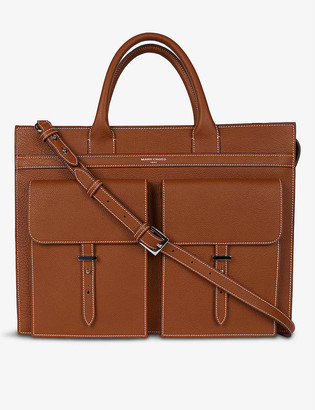 Mark Cross Reid textured leather briefcase