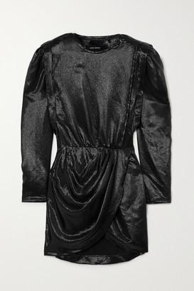 Isabel Marant Bagota Draped Metallic Silk-blend Mini Dress - Black