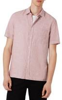 Topman Men's Slim Fit Cotton & Linen Woven Shirt