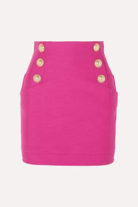 Balmain Button-embellished Cotton Mini Skirt - Pink