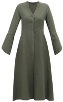 story. White Fiona V-neck Linen Midi Dress - Womens - Dark Green