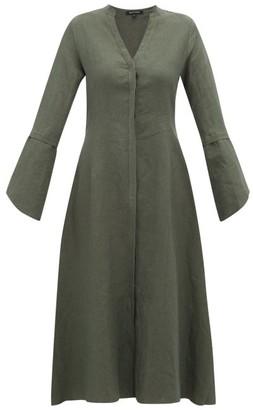 story. White Fiona V-neck Linen Midi Dress - Womens - Dark Green